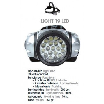 LINTERNA FRONTAL JOLUVI LIGHT 19 LED