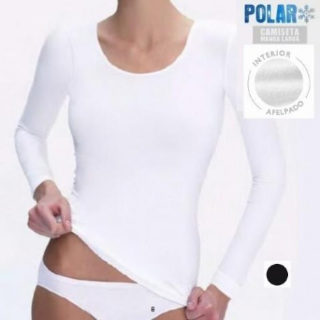 CAMISETA POLAR THERMAL MUJER M/LARGA FELPA C/REDONDO