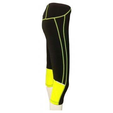 PANTALON PIRATA RUNNING JOLUVI FIT-LYC NEGRO/AMARILLO
