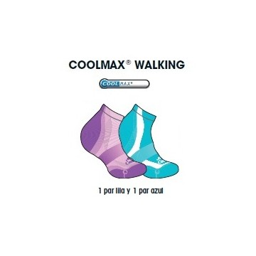 CALCETIN JOLUVI COOLMAX WALKING PACK 2 MORADO/AGUAMARINA