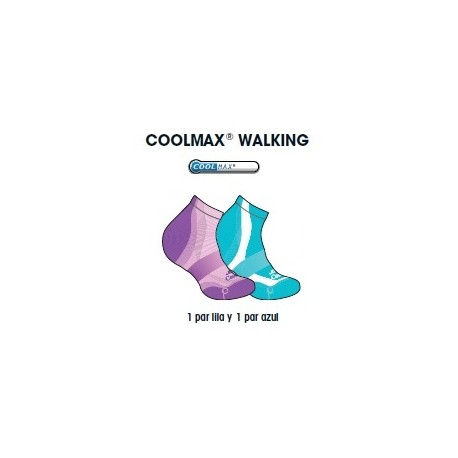 CALCETIN JOLUVI COOLMAX WALKING PACK 2 MORADO/AGUAMARINA