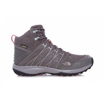 BOTAS MUJER LITEWAVE EXPLORE MID GTX NORTH FACE GRIS OSCURO/CORAL
