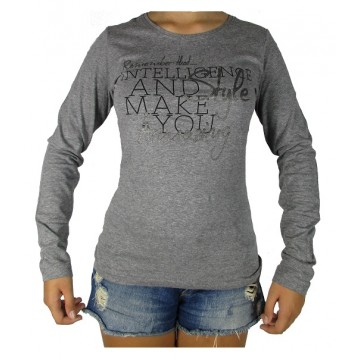 CAMISETA CASUAL MUJER ALGODON LOSAN GRACE GRIS OSCURO
