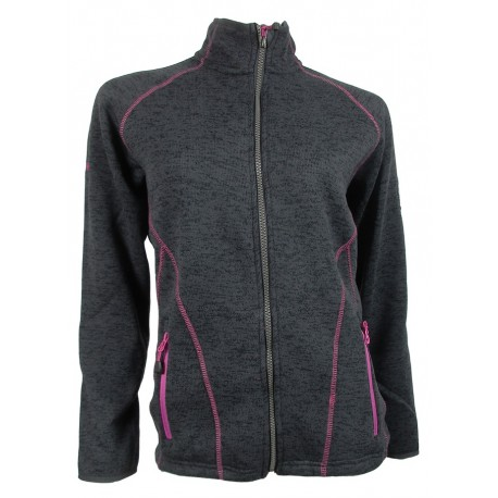 CHAQUETA POLAR MUJER TRICOT CANNON NORWAY GRIS OSCURO/FUCSIA