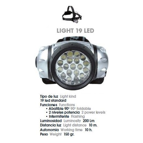 LINTERNA FRONTAL JOLUVI LIGHT 19 LED